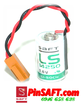 LS14250,Pin Saft LS14250 (zắc nâu) lithium 3.6v 1/2AA 1200mAh Made in France
